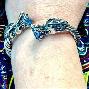 Bali Couture 18K Gold .925 Blue Topaz Dragon Cuff